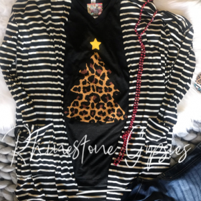 Leopard Christmas Tree Tee (V-Neck)