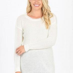 Ivory Long Sleeve Waffle Sweater