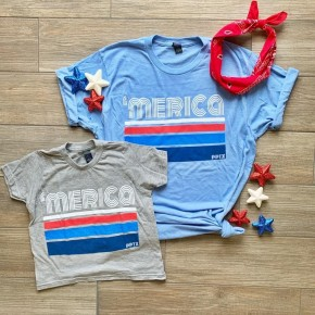 PRE-ORDER 'MERICA TEE Adult Blue/ Youth Gray