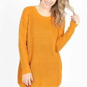 Desert Mustard Long Sleeve Waffle Knit Sweater