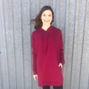 Game Day Hoodie Tunic- Cabernet