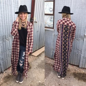 Plaid Duster with Aztec Back Detail
