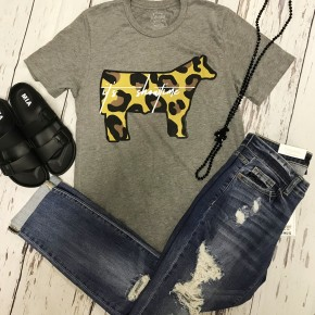 Showtime- Cow- grey tee