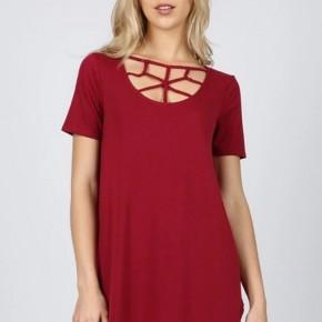 Dark Red Short Sleeve Web Detail Front Round Hem Top