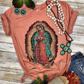 Virgin Mary Heather Peach Tee