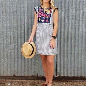 Floral Embroidered/Striped Dress