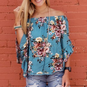 Turquoise Off The Shoulder Top