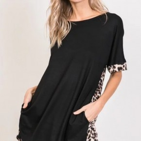 Black Leopard Print Top with Crisscross Back and Pockets