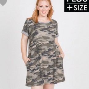 Brynlee Curvy Vintage Camo Dress