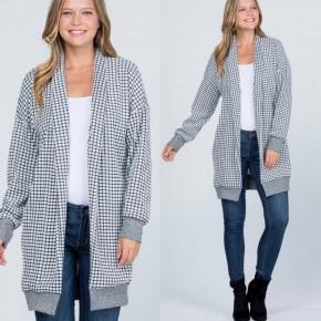 Paislee Plaid Black & White Sweater Cardigan