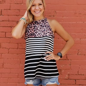 Leopard Striped Sleeveless Top