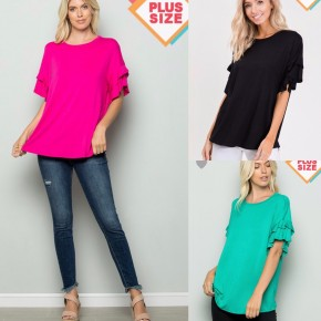 Ruffled Sleeve Top Plus Size