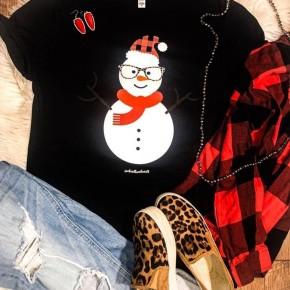 Adult V-Neck  FUNKY Snowman
