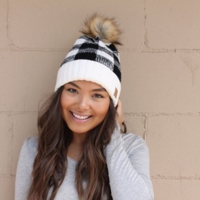 Black/ White Buffalo Plaid Beanie