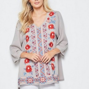 Light Grey Embroidered Top
