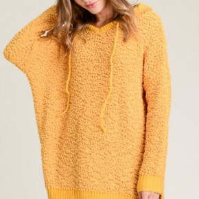 Mustard Popcorn Sweater Hooded Tunic