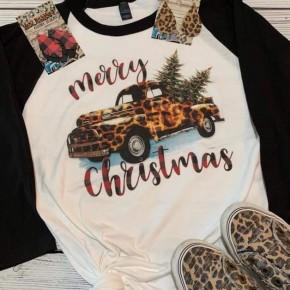 Leopard Truck Merry Christmas Raglan