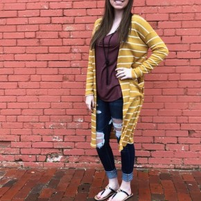 Stripe Mustard Waffle Knite Cardigan