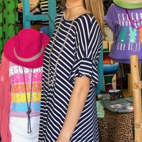 Navy  Striped Ruffle Dress