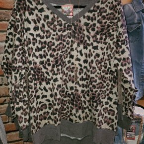 Leopard V Neck Top with Lace On Top Sleeve