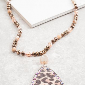 Mixed Fabric Leopard Beaded Necklace