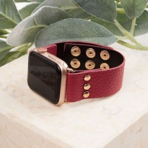 Red Leather Smart Watch band