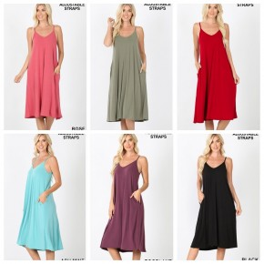 Solid Midi Dress - Several colors