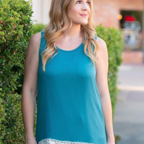 Teal Tank with Detailed Ivory Lace Trim *Final Sale*
