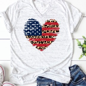 Leopard American Flag Heart Shirt