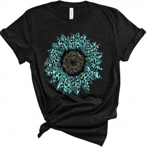 Teal Sunflower Graphic Tee