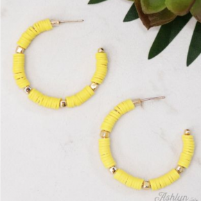 Sunny Yellow Beaded Hoop Earrings