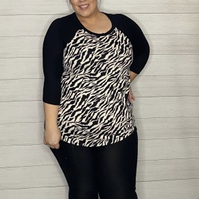 Zebra Pattern Baseball Top