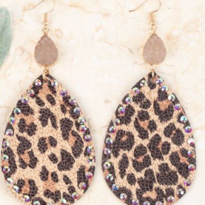 Leopard Tear Drop Metallic Earring with Druzy