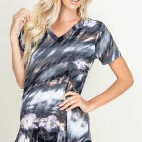 Grey Black Tie Dye top