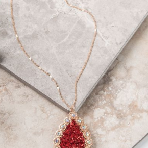 Red Glitter Teardrop Necklace