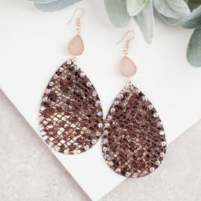Snakeskin Metallic Tear Drop Earring with Druzy