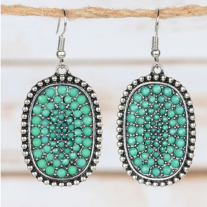 Turquoise Crystal Pendant Earrings