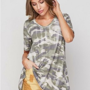 Honey Me Short Sleeve Camo Top