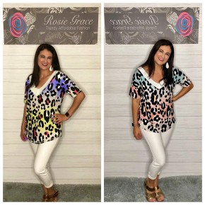 Animal Print V Neck Top
