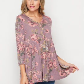 Honey Me Floral Mauve Babydoll Top *Final Sale*