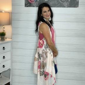 Pink Floral Vest Kimono