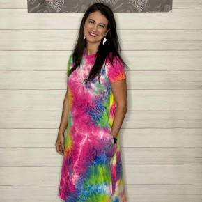 Splash Tie Dye Midi Swing Dress