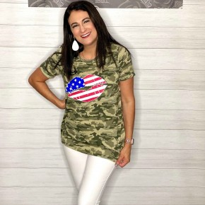 Patriotic Lips on Camo Cuff Tee