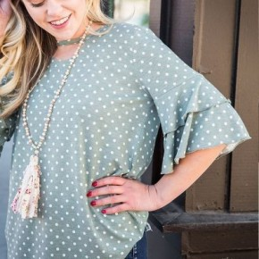 Polka Dot Belled-Sleeved Blouse *Final Sale*