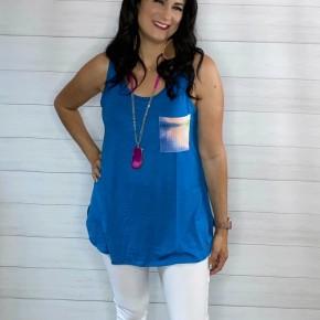 Turquoise Tie-Dye Pocket Tank