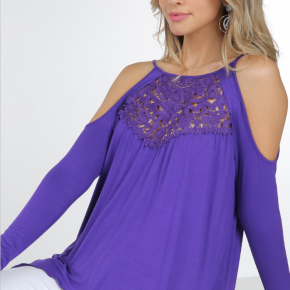 Lace Detail Cold Shoulder Top *Final Sale*