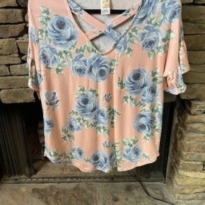 Criss-Cross Floral Print Top