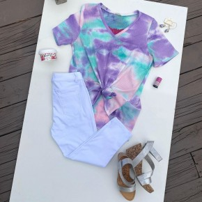V-Neck Tie Dye Thermal Top