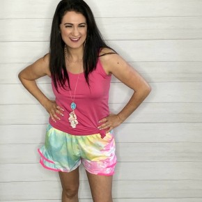 Tie-Dye Shorts with Pom Trim