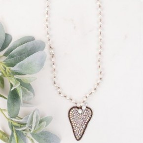 Crystal Encrusted Heart Pendant Pearl Necklace